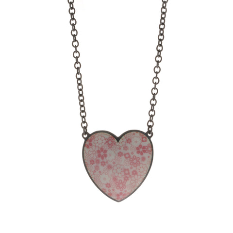 Jane Moore Enamelled Pink Daisy Heart Oxidized Silver Necklace