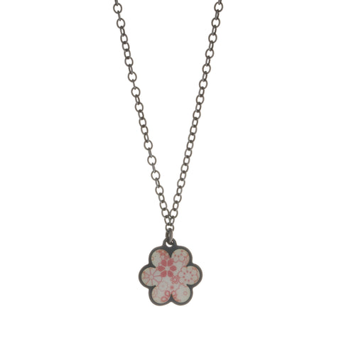 Jane Moore Enamelled Pink Daisy Oxidized Silver Necklace