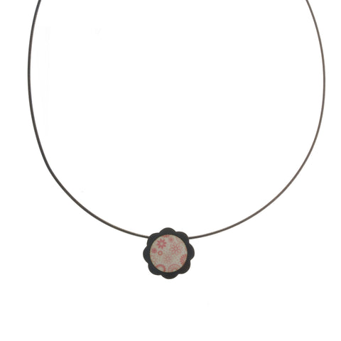 Jane Moore Enamelled Pink Oxidized Silver Necklace On Fat Cable