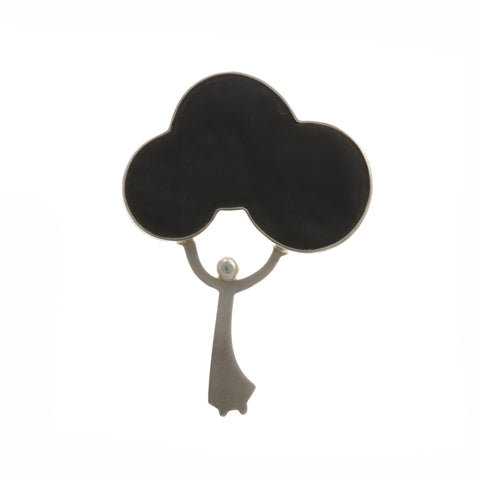 Jane Moore Lady Black Cloud Silver Brooch
