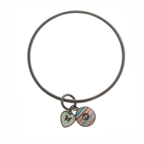 Jane Moore Two Charm Oxidized Silver Bracelet