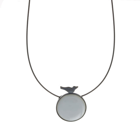 Jane Moore White Circle And Bird Silver Necklace