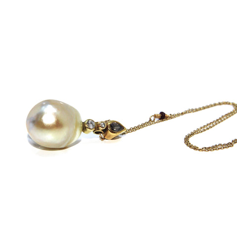 Josephine Bergsøe 'South Sea' Cream Pearl 18ct and 22ct Gold Diamond Necklace