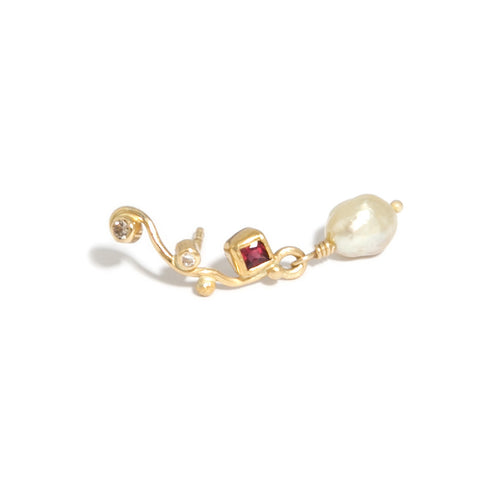 Josephine Bergsoe Ruby Keishi Pearl Diamond 18ct 22ct Yellow Gold Earrings