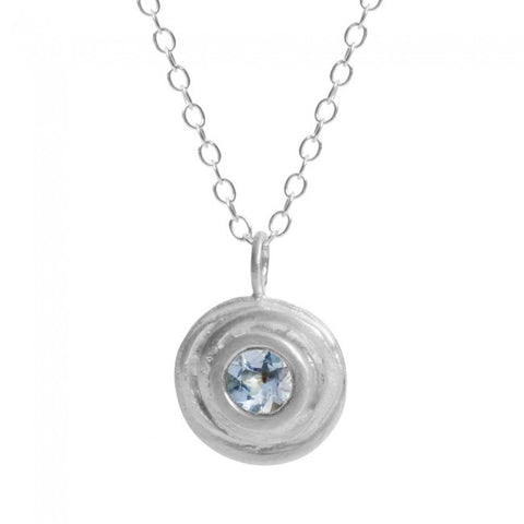 Kate Smith Swirl Aquamarine Silver Necklace