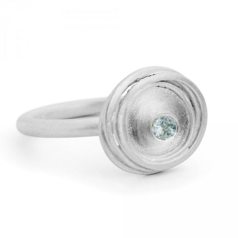 Kate Smith Swirl Aquamarine Silver Ring