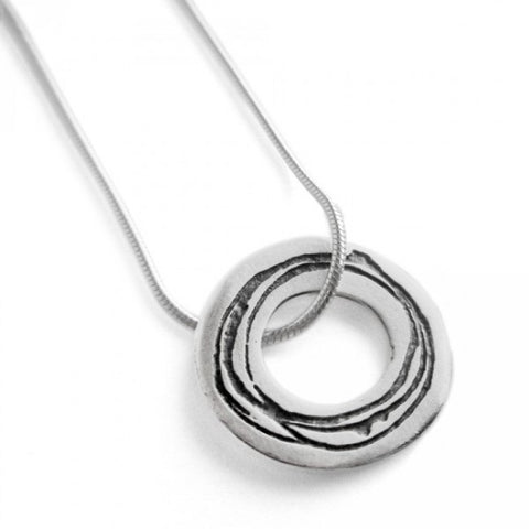 Kate Smith Circle Oxidized Silver Necklace