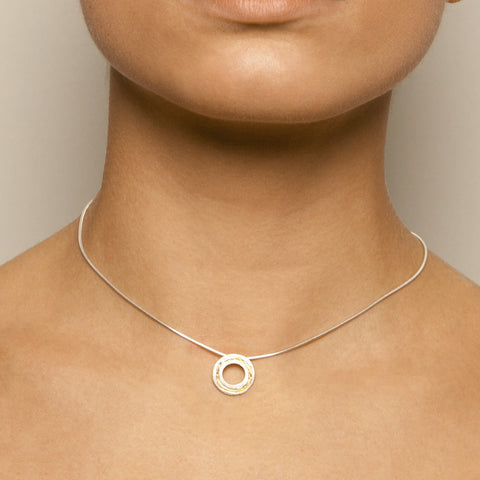 Kate Smith Circle Yellow Gold Plated Inlay Silver Necklace