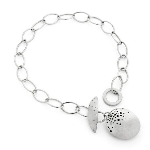 Kate Smith Satin Finish Charm Silver Bracelet