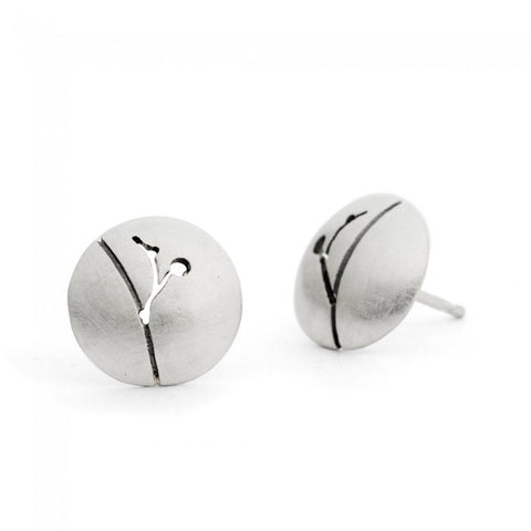 Kate Smith Satin Finish Domed Silver Earrings