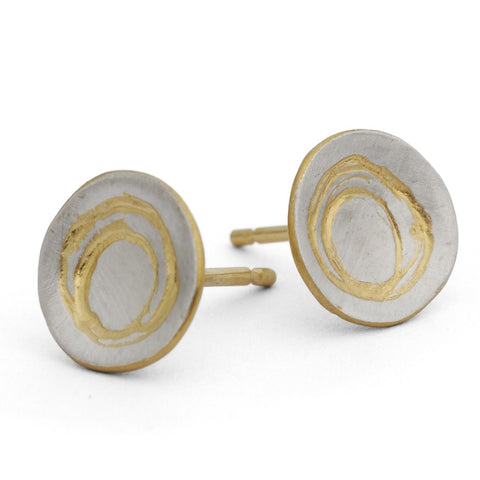 Kate Smith Etched Silver Yellow Gold Plated Earrings