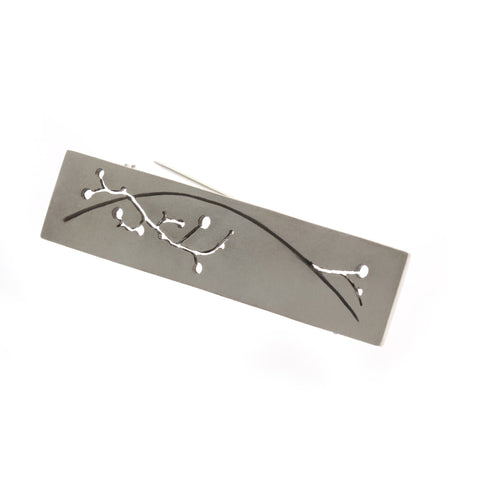 Kate Smith Satin Finish Oxidized Pierced Silver Brooch