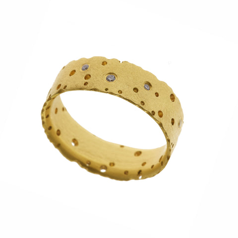 Kate Smith Scattered 18ct Yellow Gold Satin Diamond Ring