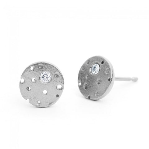 Kate Smith Silver Scattered Diamond Earrings