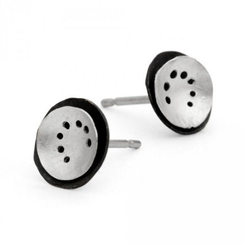 Kate Smith Small Layered Disc Oxidized Silver Earrings