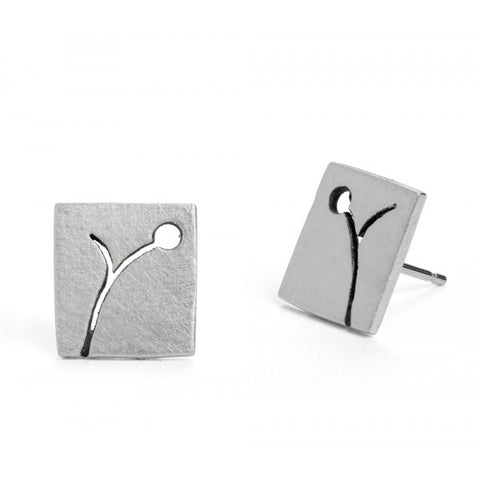 Kate Smith Patterned Square Silver Earrings