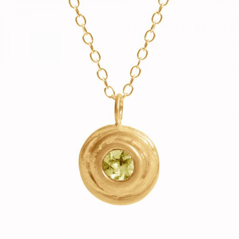 Kate Smith Swirl Yellow Gold Plated Peridot Silver Necklace