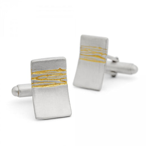 Kate Smith Gold Etched Silver Cufflinks