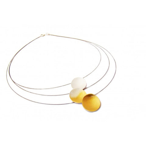 Kokkino-24ct-Gold-Plated-Triple-Strand-Silver-Necklace