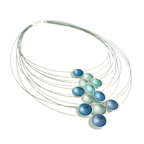 Kokkino Kingfisher Teal Enamel Multi Strand Silver Necklace