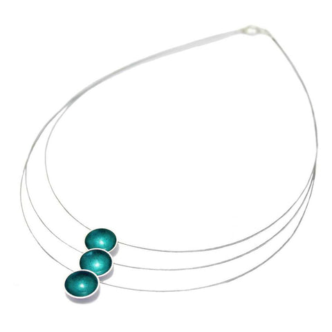 Kokkino Kingfisher Teal Enamel Triple Strand Silver Necklace