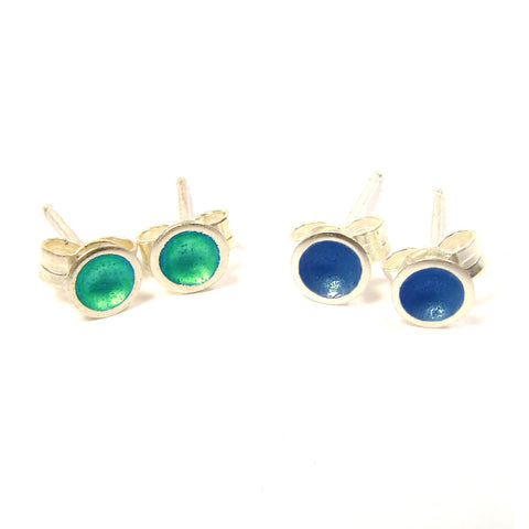 Kokkino Medium 'Kingfisher' Teal Enamel Stud Silver Earrings