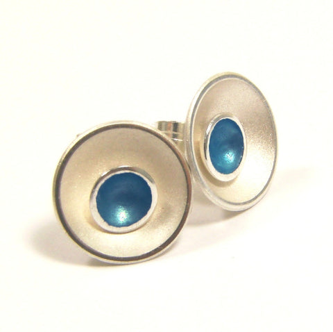 Kokkino Small Target Kingfisher Teal Enamel Stud Silver Earrings