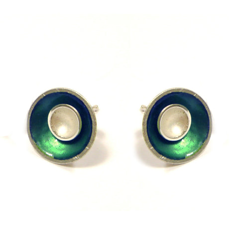 Kokkino Small Target Teal Outer Enamel Stud Silver Earrings