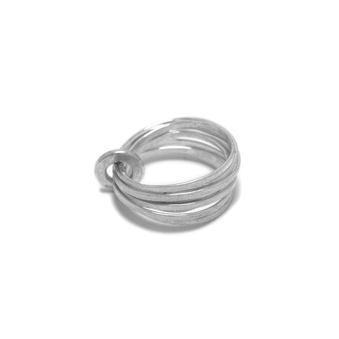 Latham And Neve Ripple Multi Band Small Circle Silver Ring