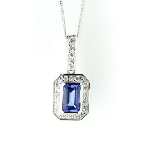 Lucy Campbell 18ct White Gold Tanzanite Diamond Necklace