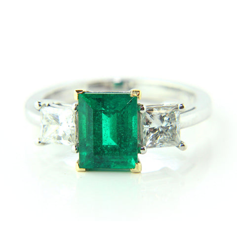 Ronan Campbell Platinum 18ct Yellow Gold Emerald Diamond Ring