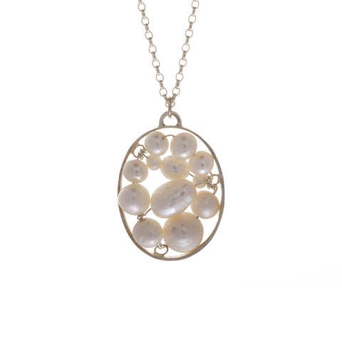 Lynsey DeBurca Silver Pearl Oval Necklace