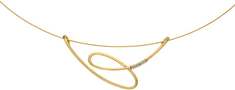 Manu 18ct Yellow Gold 'Swirl' Diamond Necklace
