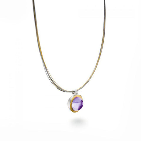 Manu 22ct Yellow Gold Amethyst Silver Necklace