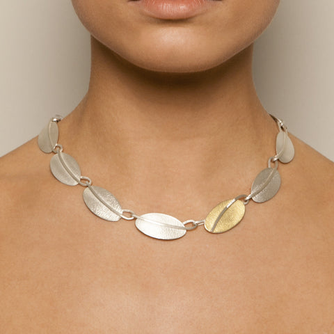Manu Lotus Petal Sterling Silver and 22ct Yellow Gold Bi-Metal Necklace
