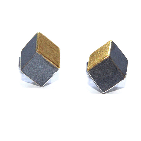 Manu 22ct Yellow Gold  Bi-Metal Cube Cube Rhodanized Silver Earrings