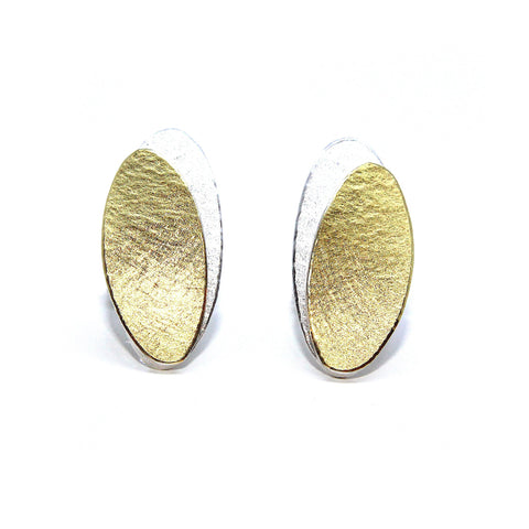 Manu 22ct Yellow Gold Bi-Metal Double Closed Oval Silver Earrings