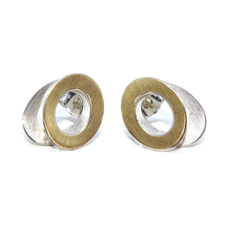 Manu 22ct Yellow Gold Bi-Metal Double Oval Silver Earrings