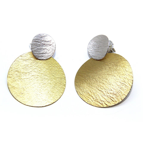 Manu 22ct Yellow Gold Bi-Metal Large Disc Silver Earrings