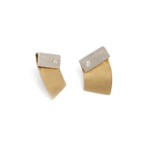 Manu 22ct Yellow Gold Bi-Metal Matte Silver Diamond Earrings