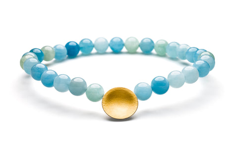 Manu Aquamarine Silver and Gold Necklace