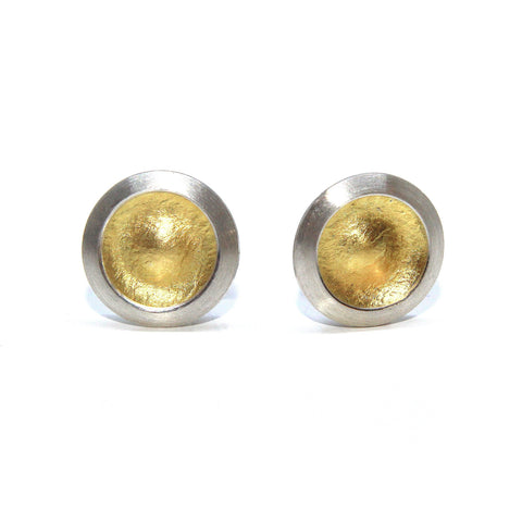 Manu 'Circle Disc' 22ct Yellow Gold Silver Earrings
