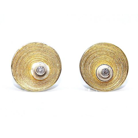 Manu 'Concentric' Overlap Gold Circle 22ct Yellow Gold Silver Diamond Earrings