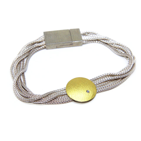 Manu Disc With Diamond 22ct Yellow Gold Bi-Metal Mesh Silver Necklace