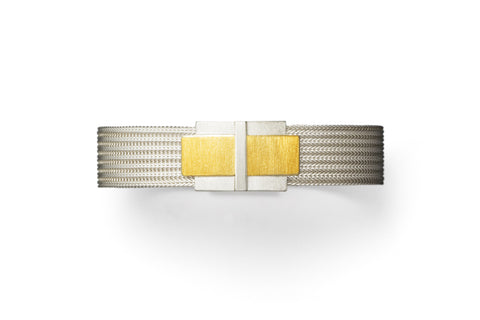 Manu Silver Mesh and 22ct Yellow Gold Textured Buckle Bracelet