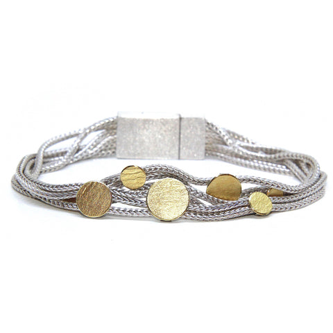 Manu Dotty Sterling Silver 22ct Yellow Gold Bi-Metal Bracelet