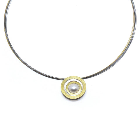 Manu Pirouette Pearl Sterling Silver 22ct Yellow Gold Bi-Metal Multi-Wire Necklace