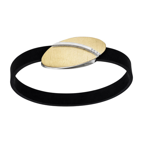 Manu Rubber Oval Magnetic Clasp Silver and 22ct Yellow Gold Bracelet