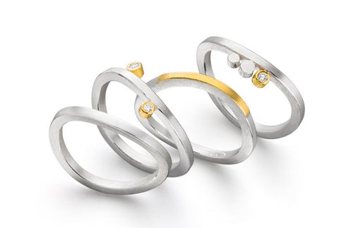 Manu Silver and 22ct Yellow Gold Stacking Diamond Rings