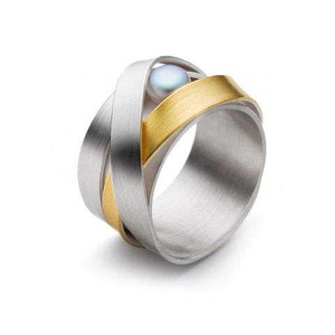 Manu Wide Grey Pearl 22ct Yellow Gold Plated Silver Ring
